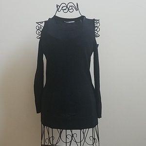 Women's Tahari open shoulders black sweater